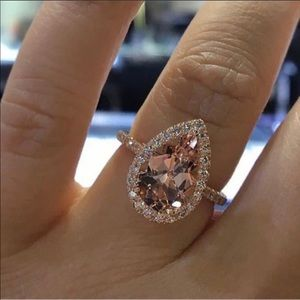 NEW 18K ROSE GOLD MORGANITE HALO RING